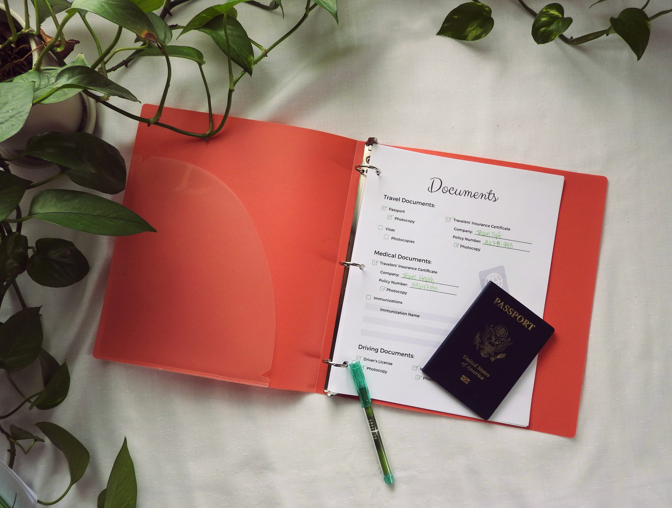 Travel Documents and Safety: Travel Planner Pages